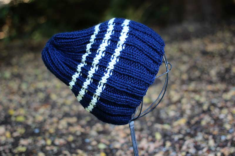 handknit vegan navy blue hat