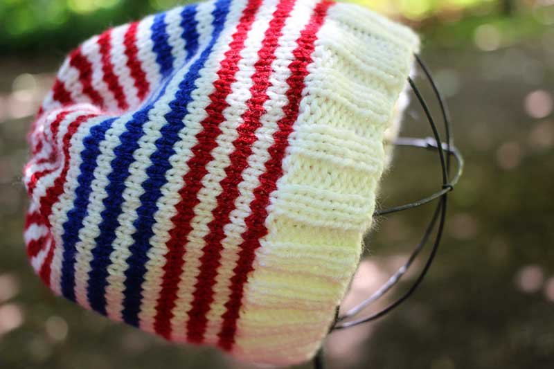 vegan handknit striped hat