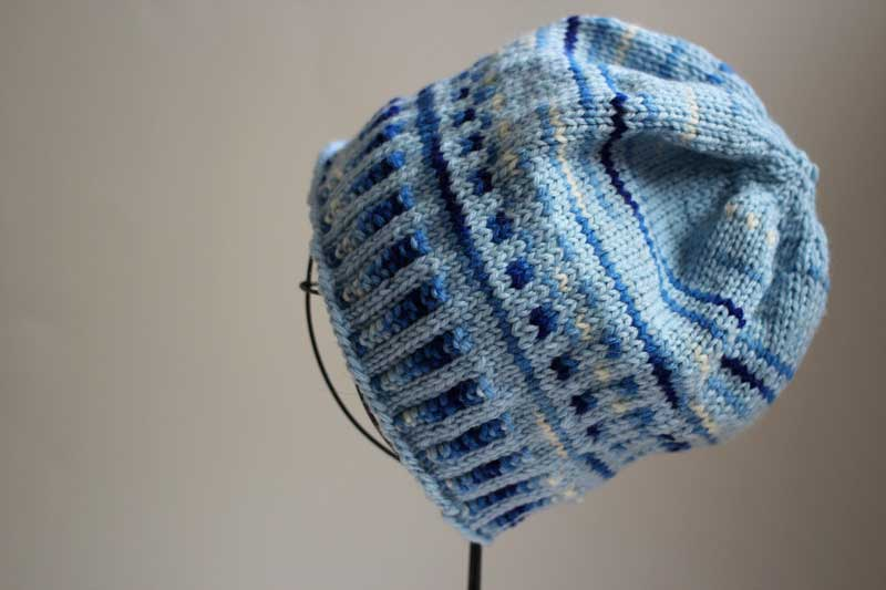 blue colorwork knit hat