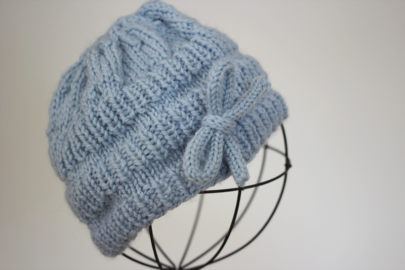 Knit Ribbed Blue Hat