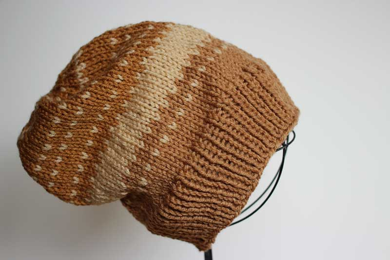 beige colorwork hat