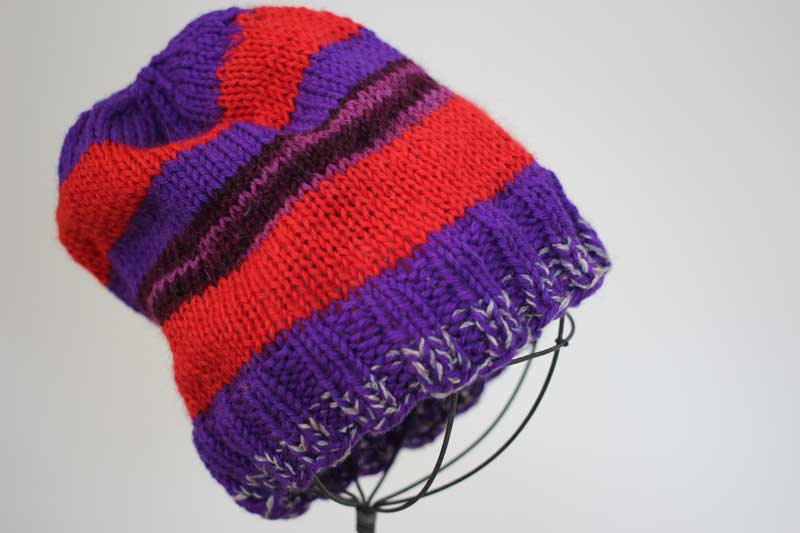 Red Striped Hat with Purple Stripes