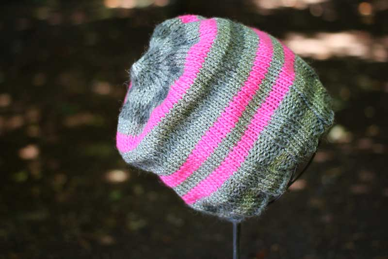 metallic pink knit hat (3)