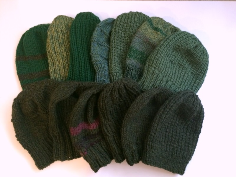 Green Handknit hats