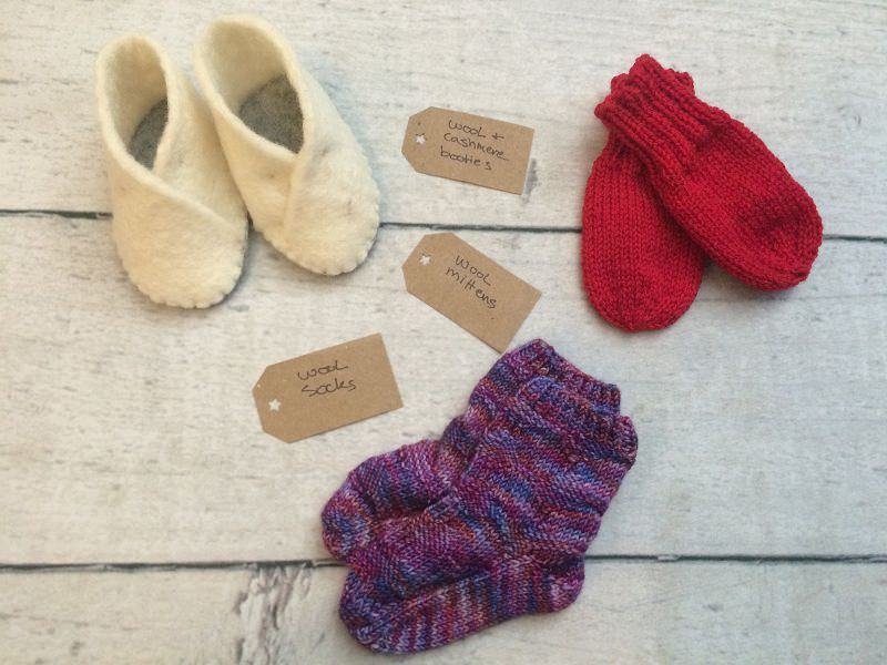 Knit baby gift- booties, mittens, socks